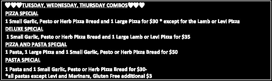 Lambar Pizza - Take Away Specials Menu